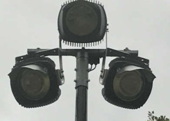LED sports floodlights for critically controlled lighting